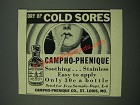 1938 Campho-Phenique Treatment Ad - Dry Up Cold Sores