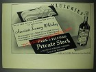 1937 Park & Tilford Private Stock Rye Whiskey Ad