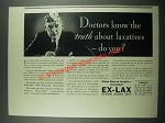 1937 Ex-Lax Laxative Ad - Doctors Know The Truth About Laxatives Do You?