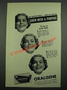 1937 Beech-Nut Oralgene Chewing Gum Ad - Chew With A Purpose