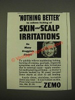 1942 Zemo Ointment Ad - Nothing Better to Relieve Itching of Skin and Scalp