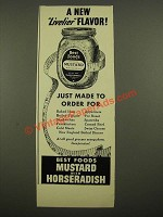 1939 Best Foods Mustard with Horseradish Ad - A New Livelier Flavor