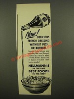 1939 Hellmann's French Dressing Ad - Without Fuss or Bother