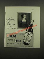 1948 Highland Queen Scotch Ad - Famous Queens Anne Boleyn