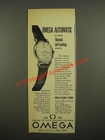 1948 Omega Automatic Watch Ad - World's Thinnest Self-Winding