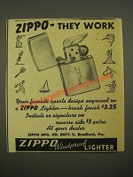 1948 Zippo Windproof Lighter Ad - They Work