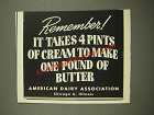 1948 American Dairy Association Ad - 4 Pints of Cream to Make Pound of Butter