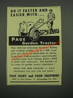 1949 Page Garden Tractor Ad - Do It Faster and Easier With