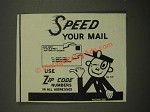 1964 U.S. Postal Service Ad - Mr. Zip - Speed Your Mail