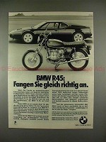 1979 BMW R45 Motorcycle Ad, in German - w/ BMW M1 Car!