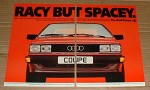 1981 2-page Audi Coupe Car Ad - Racy but Spacey!!