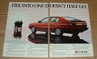 1982 2pg Audi Coupe Car Ad - Five Into One Doesn't Go!