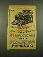 1915 Royal No. 10 Typewriter Ad - Typewriter Sales Co.