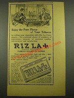 1915 Riz La Croix Cigarette Papers Ad - Enjoy the Pure Flavor