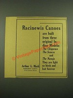 1915 Racinewis Canoes Ad - Three Original Indian Models
