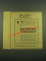 1915 Racinewis Canoes Ad - Light as Birch Last Forever