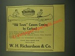 1915 W.H. Richardson & Co. Old Town Canoe Ad - Coming by Carload