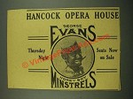 1915 Hancock Opera House Ad - George Evans in Honey Boy Minstrels