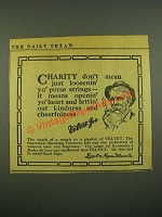 1915 Velvet Tobacco Ad - Charity don't Mean Just Loosenin' Yo' Purse Strings