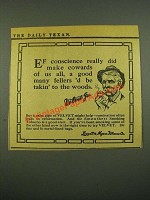 1915 Velvet Tobacco Ad - Ef conscience really did make cowards of us all