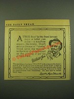 1915 Velvet Tobacco Ad - A True Fren' is The Best Investment