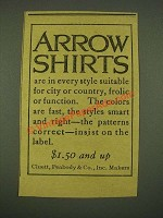 1915 Arrow Shirts Ad - Suitable for City or Country
