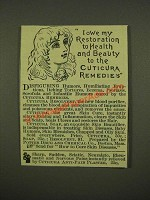 1886 Cuticura Resolvent and Cuticura Soap Ad - I Owe My Restoration