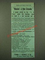 1885 Thomas Y. Crowell & Co. Books Ad - Wanted: A New Crusade