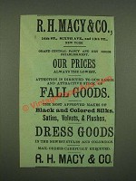 1885 R.H. Macy & Co. Ad - Fall Goods