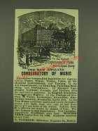 1885 The New England Conservatory of Music Ad - Franklin Square Boston