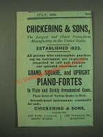 1885 Chickering & Sons Piano-Fortes Ad - The Largest and Oldest
