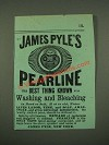 1885 James Pyle's Pearline Soap Ad - Washing and Bleaching