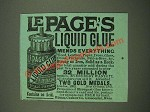 1885 Le Page's Liquid Glue Ad - Mends Everything