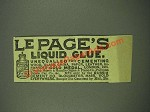1885 Le Page's Liquid Glue Ad - Unequalled for Cementing