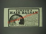 1883 Parker's Hair Balsam Ad
