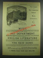 1884 New England Conservatory of Music Ad - The Largest