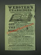 1884 Websters Unabridged Dictionary Ad