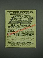 1884 Webster's Unabridged Dictionary Ad