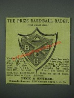 1884 Peck & Snyder Base-ball Badge Ad