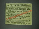 1884 Chicago and Northwestern Railway Ad - To Teachers
