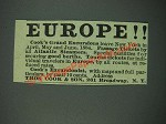 1884 Thos. Cook & Son Ad - Europe!