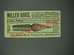 1884 The Miller Bros. Cutlery Co. Pens Ad