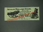 1884 Comfort Chair Co. Invalid Rolling Chair Ad