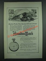 1919 Hamilton Watches Ad - Time American Railroads in France