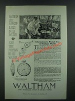 1919 Waltham Colonial A Watch Ad - Information to protect you