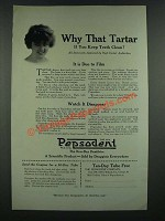 1919 Pepsodent Tooth paste Ad - Why That Tarter
