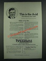 1919 Pepsodent Tooth paste Ad - This is the Acid