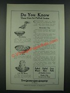 1919 Quaker Oats Puffed Wheat, Rice and Corn Puffs Ad - Do You Know