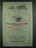 1919 Quaker Oats Puffed Wheat, Rice and Corn Puffs Ad - Wheat Bubbles