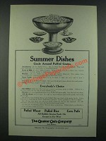 1919 Quaker Oats Puffed Wheat, Rice and Corn Puffs Ad - Summer Dishes